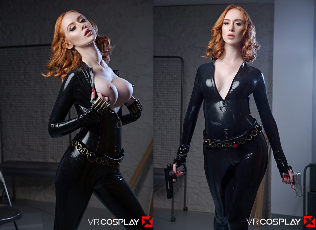 Redhead Lenina Crowne in a Black Widow VR Porn Cosplay scene wearing a Latex catsuit